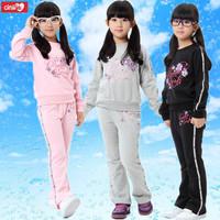 Children's clothing female child spring 2013 set spring and autumn child 100% cotton child clothes sportswear set
