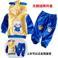 2013 spring male female child child sportswear set children's clothing velvet infant clothes 8002