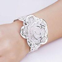 Rose flower series 990 pure silver bracelet exquisite handmade vintage cutout 033