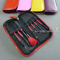 Hotselling Candy color portable cosmetic brush 7 set wool blush brush eye shadow brush make-up tool bag