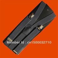 Unisex Clip-on Braces Elastic Y-back Suspenders Black
