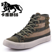 Universal color block decoration Men high casual shoes canvas shoes rivet fashion shoes lacing skateboarding shoes
