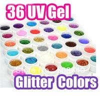 COCO Colors Glitter UV Gel 36color/set 5ml each Top Quality Nail Art Glue Product Profashional Fashion Salon Nails Wholesale 450