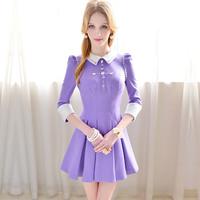 Free shipping pink doll brand  Light purple xiangpin cross acrylic gem elegant slim expansion bottom one-piece dress