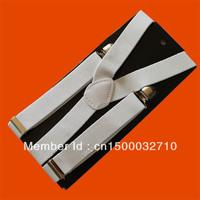 Unisex Clip-on Braces Elastic Y-back Suspenders White