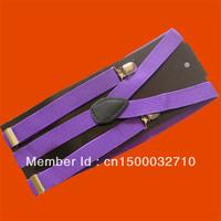 Unisex Clip-on Braces Elastic Y-back Suspenders Purple