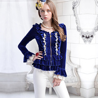 Free shipping Pink doll brand Navy blue velvet gold laciness ruffle skirt outerwear