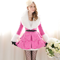 Free shipping Pink doll brand Rose white fur collar woolen overcoat outerwear female a q