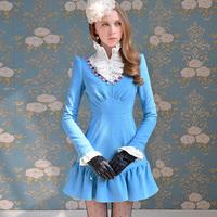 Free shipping Pink doll brand Blue gem multicolour V-neck woolen one-piece dress