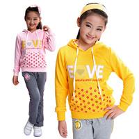 Big boy women's female child sweatshirt set spring and autumn child casual sportswear 100% cotton plus size 10 12 14 15