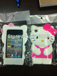 10pcs/lot 3D Cute Hello kitty Cat Soft Silicone Case Back Cover for ipod Touch 4 4th 4G Free shipping via Post(China (Mainland))