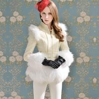 Free shipping Pink doll brand Beige gold zipper stand collar slim waist outerwear a