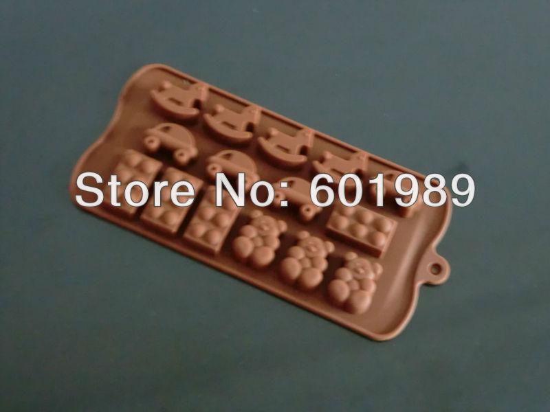 Bolo 10pcs New Soft Silicone Mold Moldes bolo Forma Fondant Decoração do cavalo do carro Urso Soap(China (Mainland))