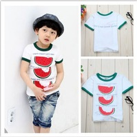 Free shipping 4pcs/lot kid baby clothing lovely boys girls cool lovely watermelon pattern t shirt children wholesale