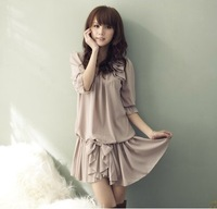 Spring new arrival 2013 women's slim bow summer sweet chiffon one-piece dress