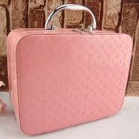 free shipping Single tier thickening cosmetics large capacity cosmetic bag jewelry box portable women's handbag