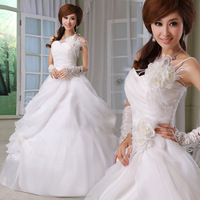 Free shipping Love feather one shoulder flower  2013 sweet princess wedding dress size : S M L XL