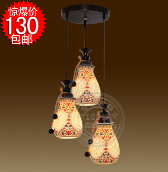 EMS FREE SHIPPING Ceramic three head pendant light lamp antique lamps chinese style lamp vintage pendant lamp