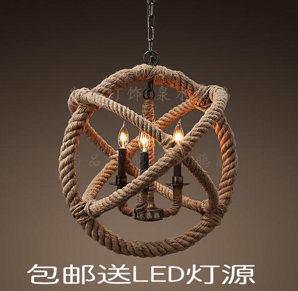 FREE SHIPPING EMS style pendant light personality hemp rope pendant light nostalgic vintage pendant light preparation(China (Mainland))