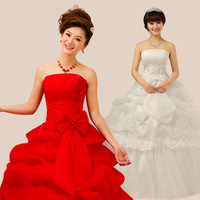 Free shipping Spring new arrival wedding dress red 2013 tube top bandage embroidered lace princess sweet slim