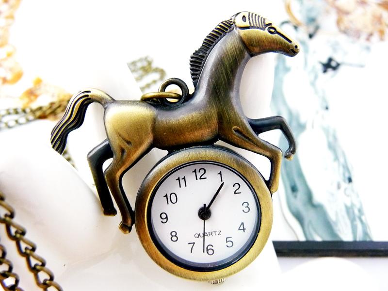 Cartoon horse pocket watch necklace vintage accessories necklace pocket watch Key Chain gift wholesale(China (Mainland))