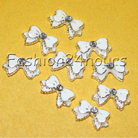 20pcs White 3d Alloy Bow Tie Nail Art Rhinestones Decoration For DIY Free Shipping