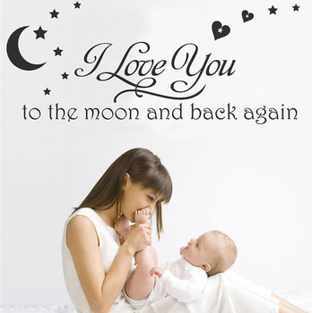 Factory Wholesale Home Decor Bed Room I love you to the moon and back nursery wall sticker 60x80cm/ piece) 5pcs/lot GLYW1014