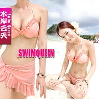 Free Shipping Small steel 2012 push up sexy yarn skirted bikini piece set female swimwear swim suits