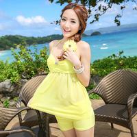 Free Shipping Elegant twinset swimwear mint green female belt split female swimwear swimming suit for women