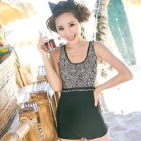 Free Shipping Fashion leopard print swimwear plus size plus size spa i one piece swimwear swimming suit for women