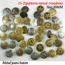 50PCS 20MM MIXED metal shank jeans buttons jean button clothing for sewing craft JMB-023(China (Mainland))