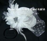 Bride white feather flower bow gauze small fedoras hair accessory hairpin hair accessory hair accessory d042