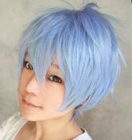 Kuroko Tetsuya 30cm blue short shaggy layered anime cosplay costume wig,synthetic hair.Free shipping