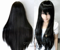 Lowest price 80cm naturally black long straight synthetic cosplay wig.Free shipping