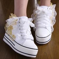 2013 fashion women's Star gold lace flower platform high platform elevator canvas shoes single shoes wedding shoes
