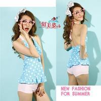 Free Shipping 2013 swimwear young girl split swimwear female small push up swimming suit for women