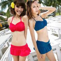 Free Shipping Small peach swimwear 2013 fashion skirt bikini twinset small push up big 1311 swimwear beach cover up