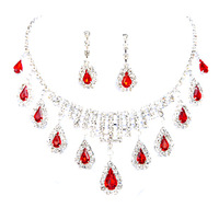 Free shipping crystal bridal jewelry sets red water drop necklace +earrings wedding accessories