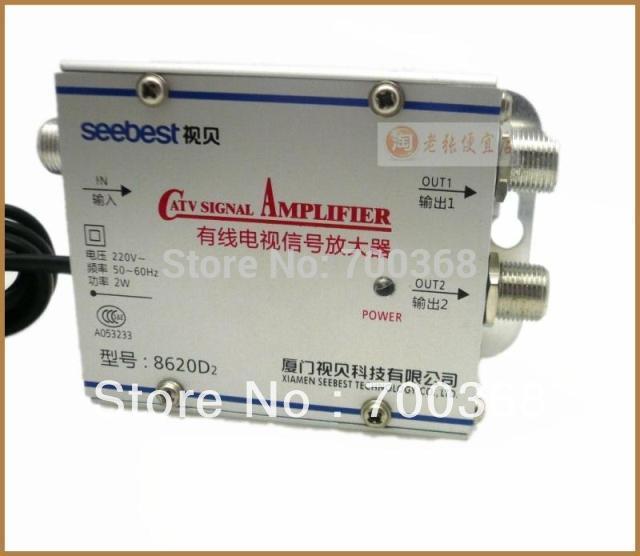 catv signal amplifer, Sat Cable TV Signal Amplifier Splitter Booster CATV 2 Output 20DB SEEBEST 8620D2(China (Mainland))