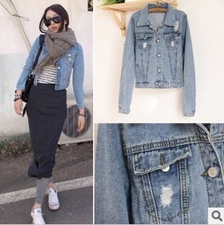2013 Korean style, new designer casual fashion women jeans jacket ,free shipping.(China (Mainland))