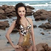 Free Shipping Sexy leopard print one piece halter-neck triangle swimwear small tulle dress skirt twinset sexy bikini