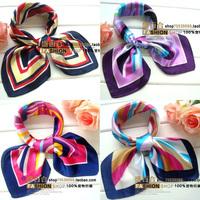 Satin Silk Scarf 60cm x 60cm Polyester Square Scarf Female Women Dress Bow Tie Collar Flower
