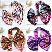 Satin Silk Scarf Variety Magicaf Scarf Decoration Magic Scarf Stripe Small Facecloth Women Cravat Bow Tie Women Accessories