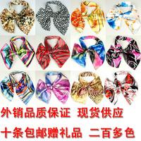 Wholesale Magicaf Satin Silk scarf magic  scarf Leopard Stripeds Flower Printed Women Dress Bow Tie Women Cravat Collar Flower