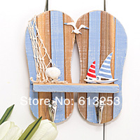 Wooden Hook / Wall Hook / Coloured Drawing Slippers Ocean Style Wall Decoration Hook ID:A0109081