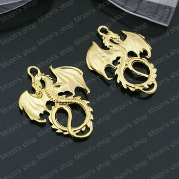 (26914)Fashion Jewelry Findings,Accessories,Vintage charm,pendant,Alloy Gold 34*27MM Dragon 10PCS