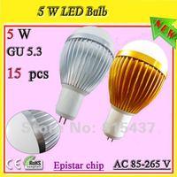 Free shipping 15 pcs/lot 5w gu5.3 gold led light bulb 500 lm ac 85-265v Epistar red / green / blue / white / yellow light