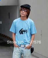 2013 new t-shirt cotton short-sleeve 100% sky blue Men lovers design food chain patten