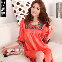 2013 spring sleepwear female spring and summer faux silk women's plus size plus size loose casual home nightgown