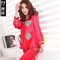 2013 spring and autumn long-sleeve women's set faux silk sleepwear young girl silk lounge